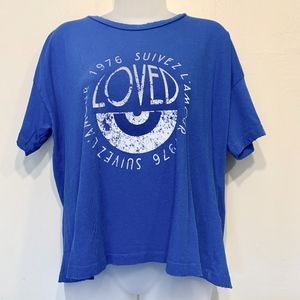 Current Elliot | NWT Cobalt Distressed Cropped Tee